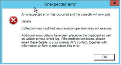 Collection was modified; enumeration operation may not execute